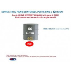 Internet PACK START TIM Fai il Pieno di GB 12 mesi 25GB raddoppio A 50GB ANNUI